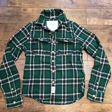 Para Hombre De Cuadros Verde Abercrombie and Fitch Músculo Camisa Tamaño Mediano