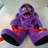Vintage RARE 90s McDonalds GRIMACE Purple Plush Kid Backpack w/Adjustable Straps