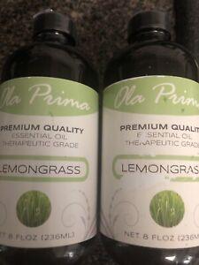 Lot Of 2-Ola Prima 8oz - Premium Quality Lemongrass Essential Oil -16 Ounces