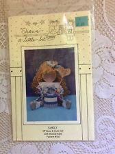"""Sharin A Little Bit Karly 13"""" Wood & Cloth Doll with Bank Pattern #120 Uncut NOS"""