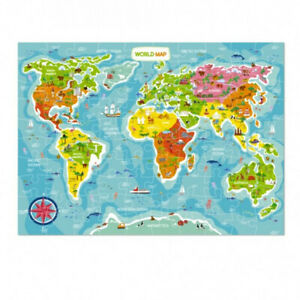 World Map Puzzle in English for Kids, 5+, Learning, Education, Game, Toy, Adult