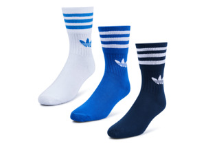 NEW WITH TAGS ADIDAS ORIGINALS MID CREW SOCKS TRAINER SHOE SNEAKER MEN 3 PACK
