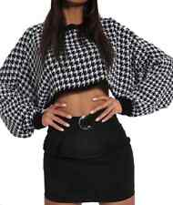 DOGTOOTH KNITTED CROPPED JUMPER Z37