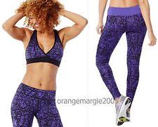ZUMBA FITNESS 2Pc.Set! Scribble Purple Slimming & Shaping LEGGINGS & BRA TOP M L