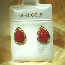 6X9MM GENUINE NATURAL PEAR RED CORAL SOLID 14K YELLOW GOLD POST STUD EARRINGS 2R