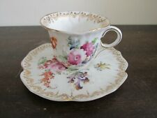 Dresden Germany Handpainted Demitasse Cup And Saucer Flowers Gold