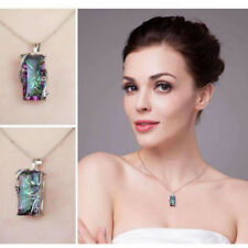 1Pc Silver Mystic Rainbow Topaz Pendant Chain 24inch Chocker Necklace Party Prom
