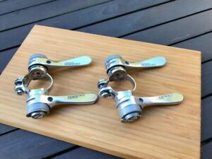 NOS Shimano RX100 7 speed clamp on down tube shifters