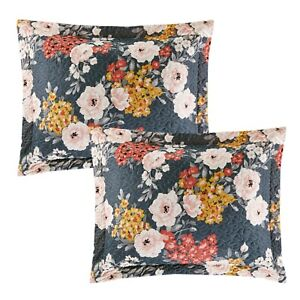 Grey Rose Floral King Quilted Bed Pillow Shams Pair Set of 2 Bedding Multicolor