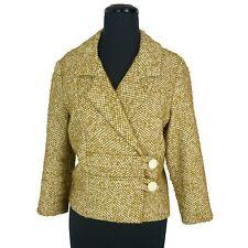 Vintage 60s TWEED JACKET Olive Green Wool Rayon Blazer Beeline Mod Asym Boxy M/L