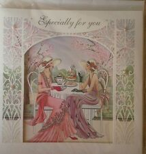 CLINTONS CARDS 3D ART DECO AFTERNOON TEA  BIRTHDAY SEALED NEW GLITTER PEARLS