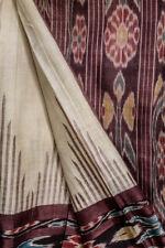 Vintage Indian Pure Tussar Silk Saree Beige Printed Sari Patola Handloom Textile