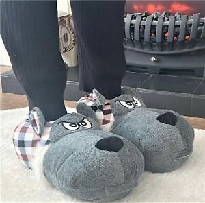 MENS BOYS WOMENS NOVELTY FLUFFY WARM GIFT DOG FACE 3D SLIPPERS MULES BOOTS SIZE