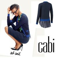 CAbi Style #5016 Michelle Cardigan Blue Button Front Layered XS
