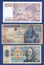 Banknotes, 10 Francs 1997 + 100 Escudos 1981 + 20 Korun 1988, France, Portugal !