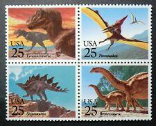 2422 - 2425 Mnh 1989 25c Dinosaurs T Rex Pteranodon Stegosaurus Brontosaurus