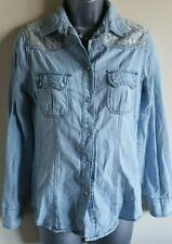 Size 8 Top Denim Shirt Pale Blue White Lace Fitted Excellent Condition Women's