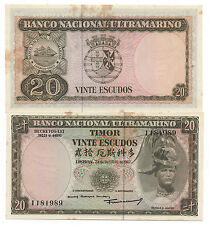 TIMOR PORTUGAL 20 ESCUDOS 1967 PICK 26 AU CRISP WITH TONE FOXING LOOK