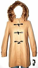 WINTER COAT JACKET TOMMY HILFIGER WOMEN TAN/BEIGE FAUX FUR HOOD SZ 8