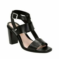 CLARKS Image Crush Black Leather women's T-bar sandals UK 6.5  RRP £70