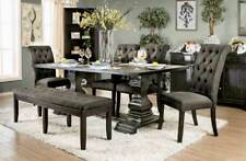 Traditional Dining Room 6pcs Rectangular Black Table & Gray Chair Bench Set ICCG