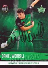 ✺Signed✺ 2016 2017 MELBOURNE STARS Cricket Card DANIEL WORRALL Big Bash League