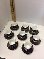 Ak Keiser Tea Cups- Kobalt Blue & Gold