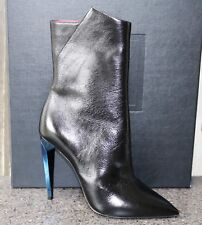 f8f7df65047 NIB YSL SAINT LAURENT PARIS FREJA 105 BLACK W BLUE HEEL SHORT BOOTIES Shoes  38