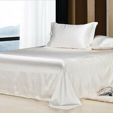 100% Natural Silk Fitted Sheet Queen Size White Healthy Sleep, Hypoallergenic