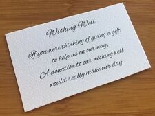 50 x WHITE Wishing Well Cards - Printed And Cut - Wedding Invitations - DIY