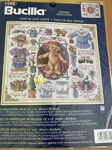 "Plaid Bucilla Paper Dolls / Teddy Bear Cross Stitch Kit Sandy Orton 42732 16x12"""