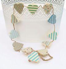 Gisela Graham Heart Wooden Peg Bunting Nautical Decoration