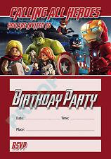 #44 LEGO AVENGERS Pack of 10 kids children birthday party INVITATIONS