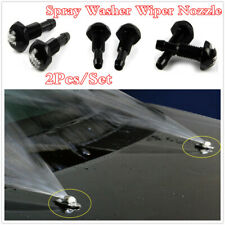 Black Aluminum 2Pcs/Set Windshield Wiper Strong Spray Jet Washer Nozzle For Car