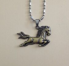 Bronze Horse Pendant + Necklace Equestrian saddle up