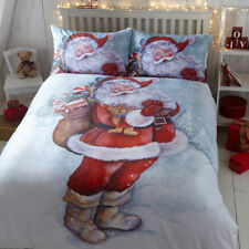Classic Father Christmas Santa Duvet Cover/Quilt Cover Set Bedding White / Multi