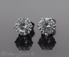 7MM ROUND SIMULATED DIAMOND SILVER SURGICAL STEEL STUD MENS WOMENS EARRINGS
