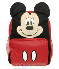 """Disney  Mickey Mouse Face/Ears 12"""" Small Backpack Book Bag for Kids"""