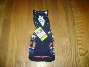 NWT TOP PAW Dog Apparel Outerwear KNITTED HOODED Sweater BLUE Size XS
