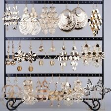 12 Pairs Mixed Style Gold Plated Dangle Earrings Ear Drop Wholesale Jewelry Lot