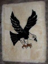"Eagle Figure Alpaca Fur Rug/Wall-hanging/Blanket 64"" x 45""  Handmade in Peru"