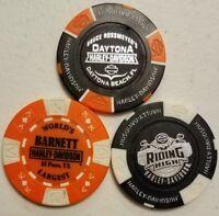 Lot of 3 Harley Davidson Poker Chips Daytona, FL , El Paso, TX , Greensboro, NC