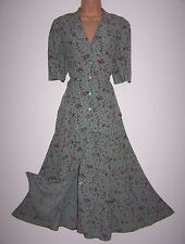 Laura Ashley vintage summer 94 celadon printed viscose skirt suit 2 pieces, 14UK