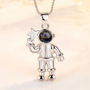 Women 100 Languages I Love You Projection Necklace Astronaut Pendant Lover Gift
