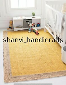 Handmade Area Floor Carpet Rug Natural Jute Braided Rectangle 2x3 Feet Rag Rugs