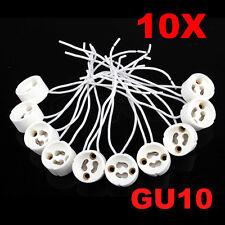 10pcs GU10 Socket Base LED Bulb Halogen Lamp Light Holder Ceramic Wire Connector