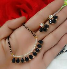 Heart Black Stone Ad Love Mangalautra Gold Plated Necklace Indian Bollywood