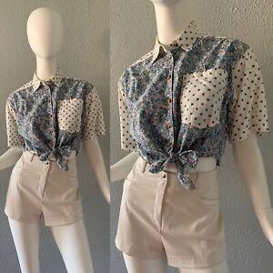 Vintage 80s Grunge 90s Retro Polka Dot Tie Front Button Crop Top Blouse S/M