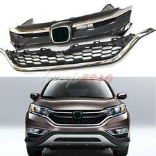 2x For Honda CRV 2015-16 Car Front Bumper Cover Grid Upper Trim+Lower Grille