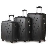 4 Wheel Lightweight Spinner Set of 3 Trolley Suitcase Luggage Case Bag Black